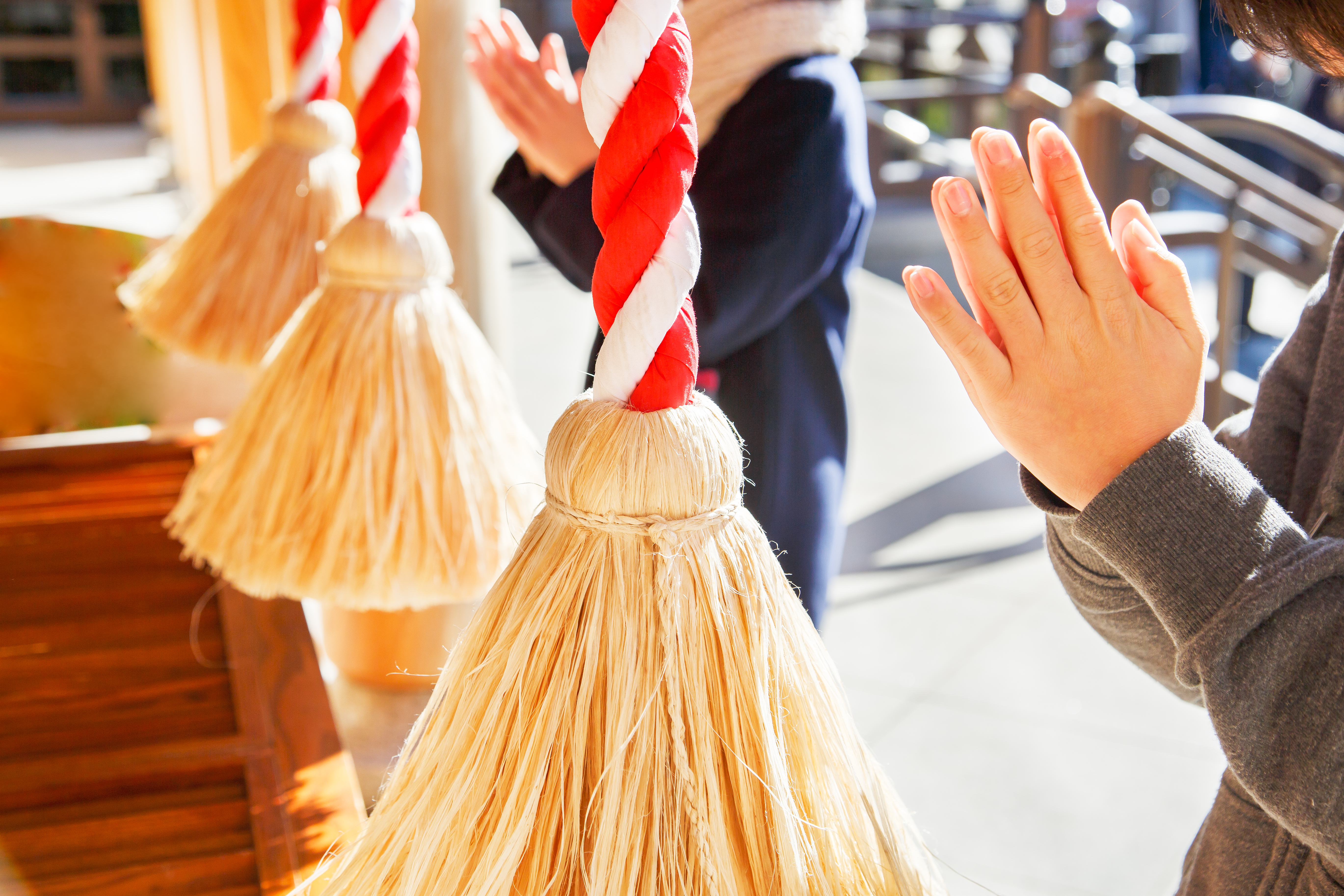Japanese people visit a local temple on New Year's Day